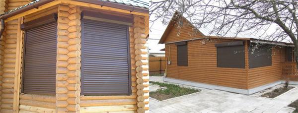 Защитные ролеты на деревьянном доме